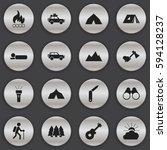 set of 16 editable travel icons.... | Shutterstock .eps vector #594128237