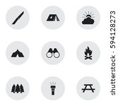 set of 9 editable travel icons. ... | Shutterstock .eps vector #594128273