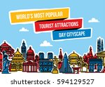 colorful cityscape with world's ... | Shutterstock .eps vector #594129527