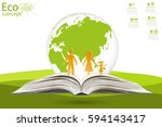 globe on opened book. green... | Shutterstock .eps vector #594143417