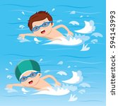 boy swimming in the pool | Shutterstock .eps vector #594143993