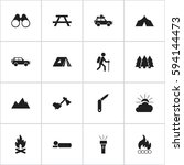 set of 16 editable camping... | Shutterstock .eps vector #594144473