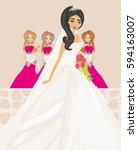 bride with bridesmaids   Shutterstock . vector #594163007