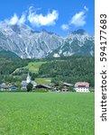 village of leogang in... | Shutterstock . vector #594177683