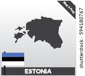estonia map and flag with flat...   Shutterstock .eps vector #594180767