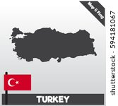turkey map and flag with flat... | Shutterstock .eps vector #594181067