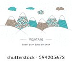 mountains concept in doodle... | Shutterstock .eps vector #594205673