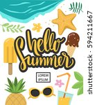 hello summer vector banner... | Shutterstock .eps vector #594211667