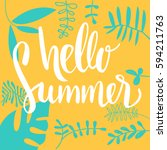 hello summer vector banner... | Shutterstock .eps vector #594211763