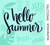 hello summer vector banner... | Shutterstock .eps vector #594211793