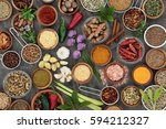 herb and spice seasoning in... | Shutterstock . vector #594212327