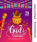 gudi padwa marathi new year...   Shutterstock .eps vector #594227393