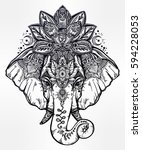 vintage style vector elephant... | Shutterstock .eps vector #594228053