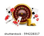 casino roulette with chips  red ... | Shutterstock .eps vector #594228317