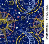 seamless with zodiac | Shutterstock .eps vector #594237833