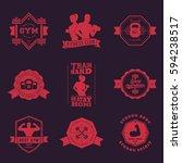 fitness  gym vintage logos ... | Shutterstock .eps vector #594238517
