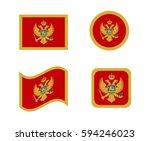 set 4 flags of montenegro | Shutterstock .eps vector #594246023