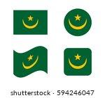 set 4 flags of mauritania | Shutterstock .eps vector #594246047