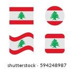 set 4 flags of lebanon | Shutterstock .eps vector #594248987