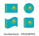 set 4 flags of kazakhstan | Shutterstock .eps vector #594248993