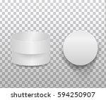 3d  white round gift box  on... | Shutterstock . vector #594250907