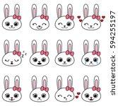 set of kawaii cartoon bunnies... | Shutterstock .eps vector #594255197