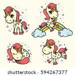 set of cute doodle magic... | Shutterstock .eps vector #594267377