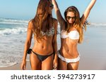 beautiful girls walking and... | Shutterstock . vector #594273917