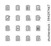 clipboard vector icon set in... | Shutterstock .eps vector #594297467