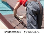 Roofer Builder Worker Use A...