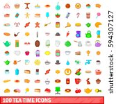 100 tea time icons set in... | Shutterstock . vector #594307127