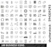 100 business icons set in... | Shutterstock . vector #594309293