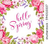 tropical flower garland. hello... | Shutterstock . vector #594310337