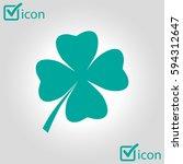 leaf clover sign icon. saint... | Shutterstock .eps vector #594312647