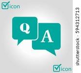 q a sign symbol. speech bubbles ... | Shutterstock .eps vector #594312713