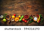 various herbs and spices on... | Shutterstock . vector #594316193
