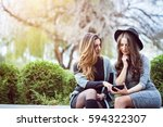 portrait of two beautiful young ... | Shutterstock . vector #594322307