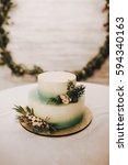 two tiered wedding cake... | Shutterstock . vector #594340163