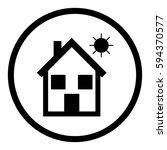 house icon in circle on white...