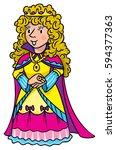 beautiful queen or princess in... | Shutterstock .eps vector #594377363