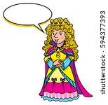 beautiful queen or princess in... | Shutterstock .eps vector #594377393