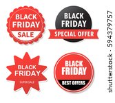 collection of black friday ... | Shutterstock .eps vector #594379757