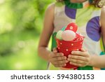 easter bunny. child having fun...   Shutterstock . vector #594380153