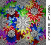 vintage floral seamless pattern ... | Shutterstock . vector #594380807