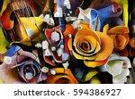 a bouquet of beautiful flowers... | Shutterstock . vector #594386927