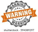 warning. stamp. sticker. seal.... | Shutterstock .eps vector #594389297