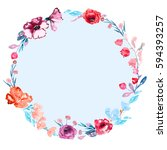 round frame of roses flowers... | Shutterstock . vector #594393257