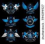 set of luxury heraldic vector... | Shutterstock .eps vector #594399527