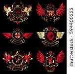 collection of vector heraldic... | Shutterstock .eps vector #594400223