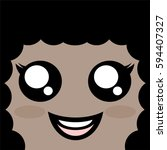 happy woman face | Shutterstock .eps vector #594407327